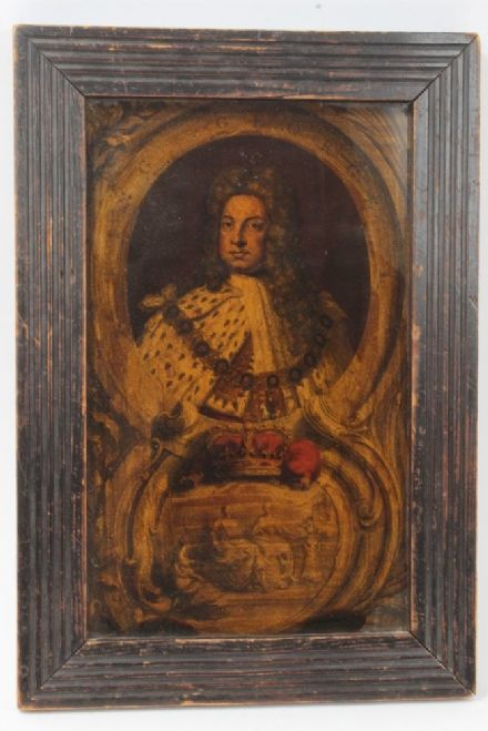 18th Century Georgian Reverse Glass Print of King George I in Royal Regalia